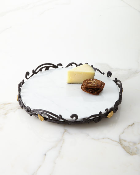 Marble Lazy Susan in Metal Gold Leaf Base