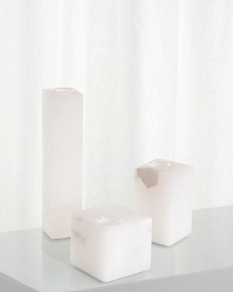 John-Richard Collection Cubist Alabaster Vases, Set of 3