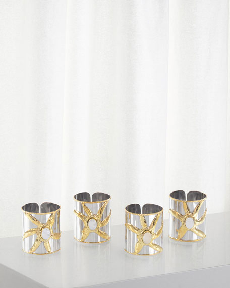 John-Richard Collection Mother-of-Pearl Napkin Rings, Set of 4