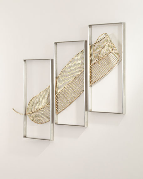 Gold Leaf Triptych Wall Sculpture