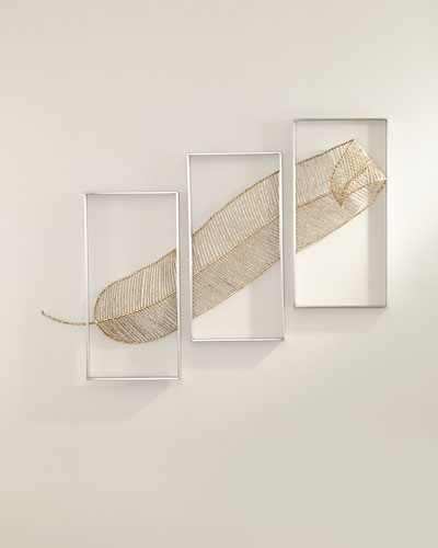 Gold Leaf Triptych Wall Sculpture
