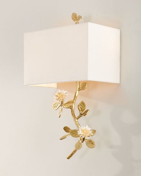 Quartz Flower Single Light Wall Sconce
