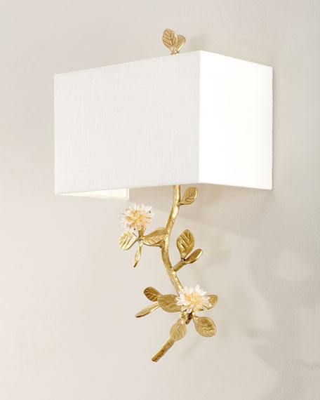 John-Richard Collection Quartz Flower Single Light Wall Sconce