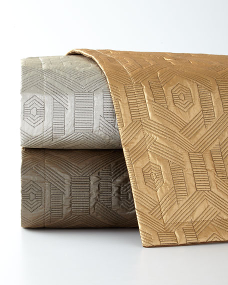 Metallic Geometric Quilted King Coverlet