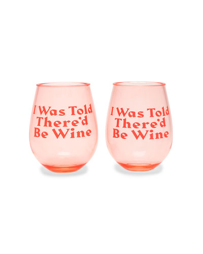 I Was Told There'd Be Wine Party On Wine Glasses  Set of 2