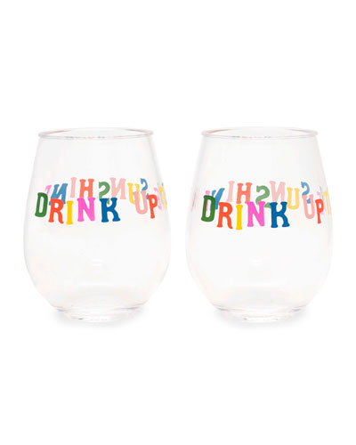 Party On Drink Up The Sunshine Wine Glasses  Set of 2