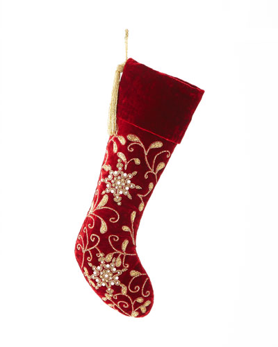 Red Velvet Stocking with Pearlescent Embroidery