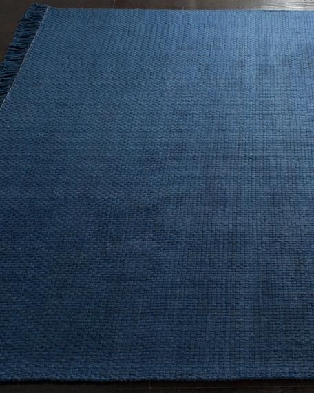 """Amalie Navy Hand-Woven Flat Weave Runner, 2'6"""" x 8'"""