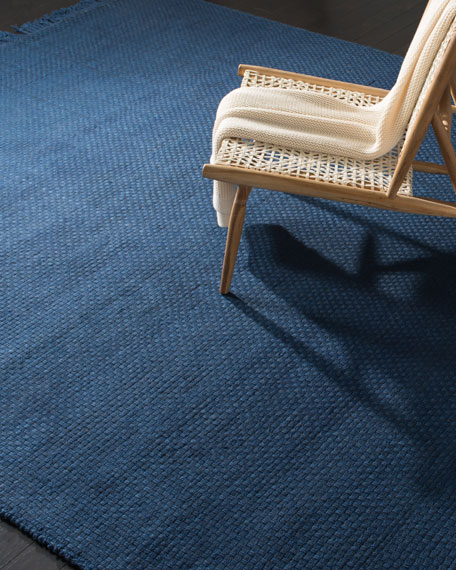 Amalie Navy Hand-Woven Flat Weave Rug, 9' x 12'