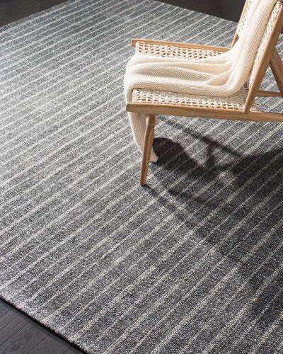Miles Charcoal Stripe Flat Weave Rug  4' x 6'