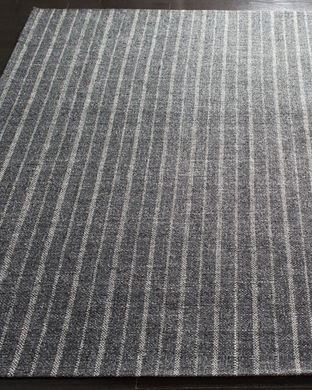 Miles Charcoal Stripe Flat Weave Rug, 8' x 10'