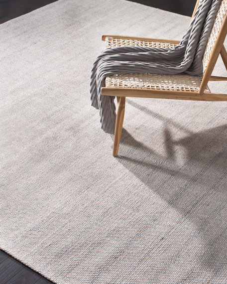 Miles Silver Stripe Flat Weave Rug, 5' x 8'