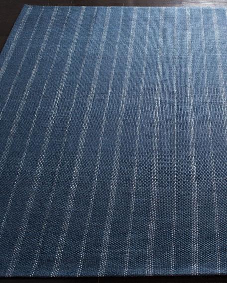 Miles Navy Stripe Flat Weave Rug, 8' x 10'
