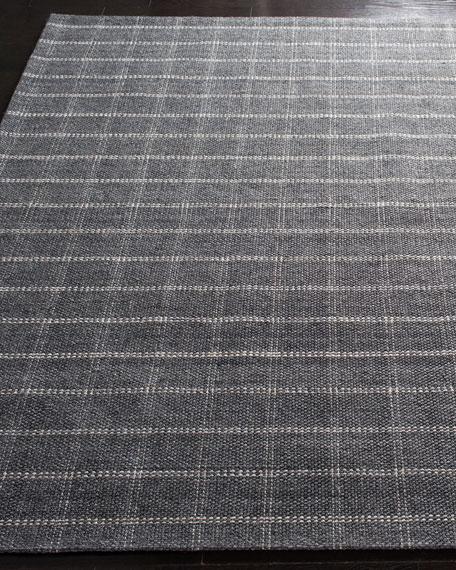 Tamworth Charcoal Check Hand-Woven Runner, 2.6' x 8'