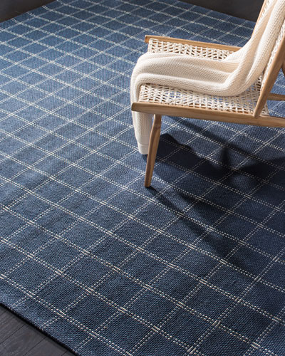 Tamworth Navy Check Hand-Woven Runner  2.6' x 8'