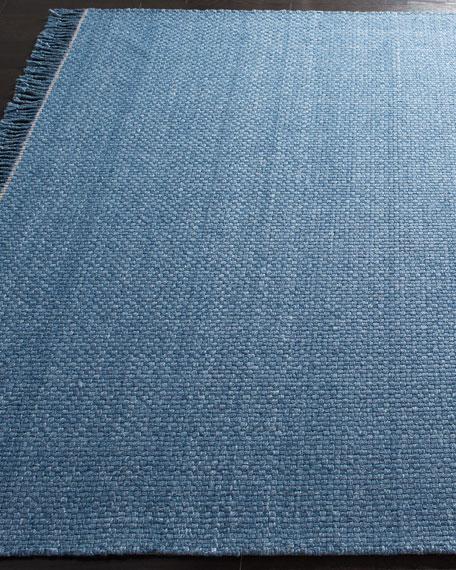 Amalie Blue Hand-Woven Flat Weave Rug, 5' x 8'