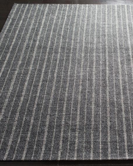 Miles Charcoal Stripe Flat Weave Rug, 2.6' x 8'