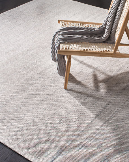 Miles Silver Stripe Flat Weave Rug, 8' x 10'
