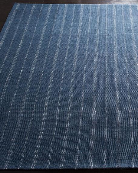 Miles Navy Stripe Flat Weave Runner, 2.6' x 8'