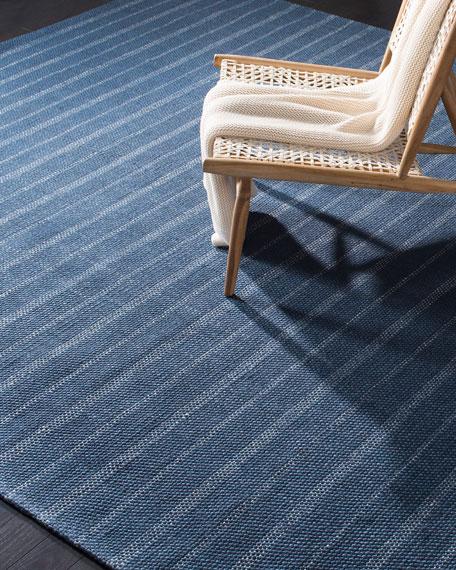 Miles Navy Stripe Flat Weave Rug, 5' x 8'