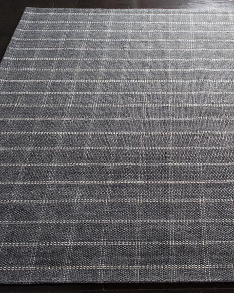 Tamworth Charcoal Check Hand-Woven Rug, 4' x 6'