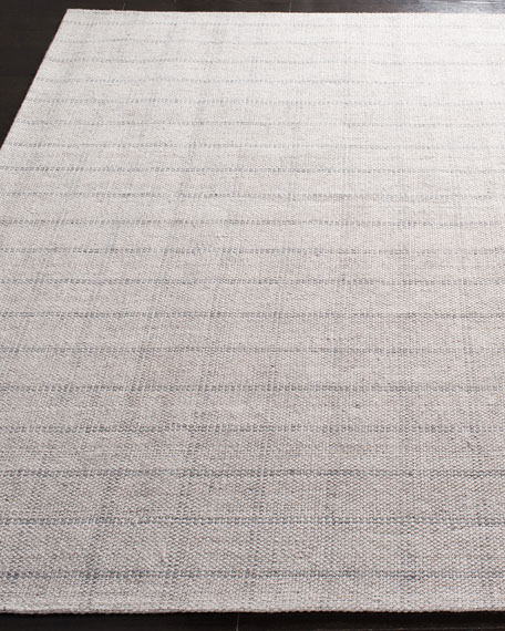 Tamworth Silver Check Hand-Woven Runner, 2.6' x 8'