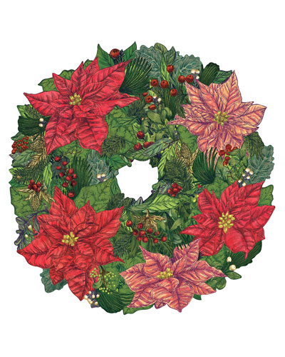 Set of 12 Poinsettia Wreath Paper Placemat