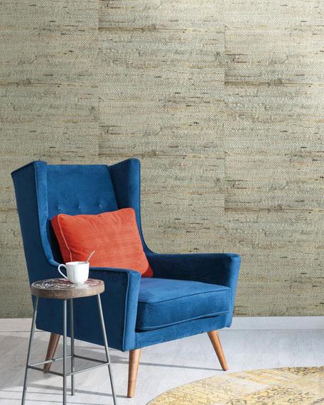 Blue Grasscloth Wallpaper Sample