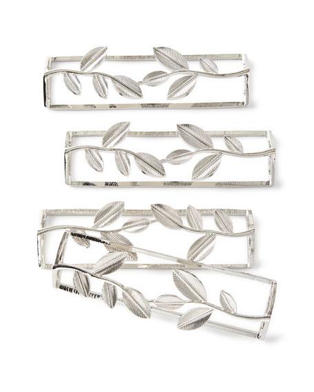 Leaf Silver Napkin Rings, Set of 4