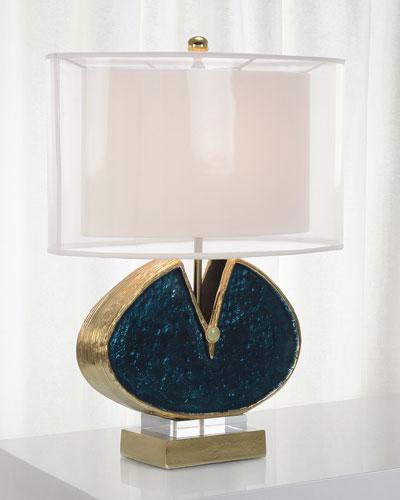 Blue Enameled & Jeweled Lamp