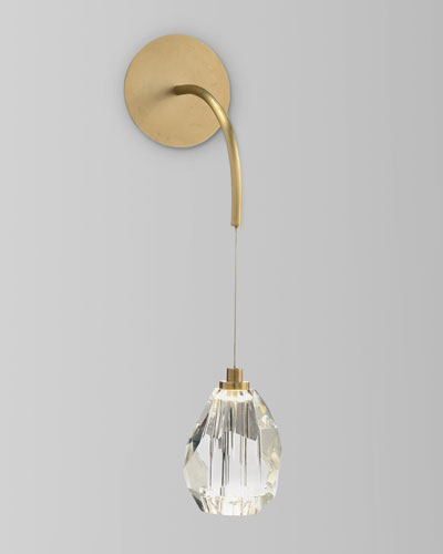 Faceted Cut Crystal Single Light Sconce