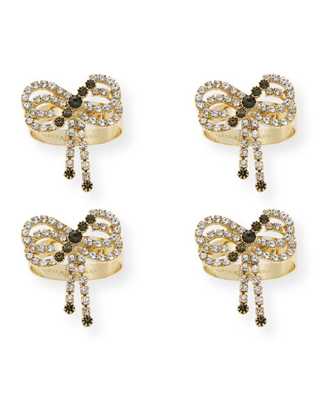 Sparkle Bow Skinny Napkin Rings, Set of 4