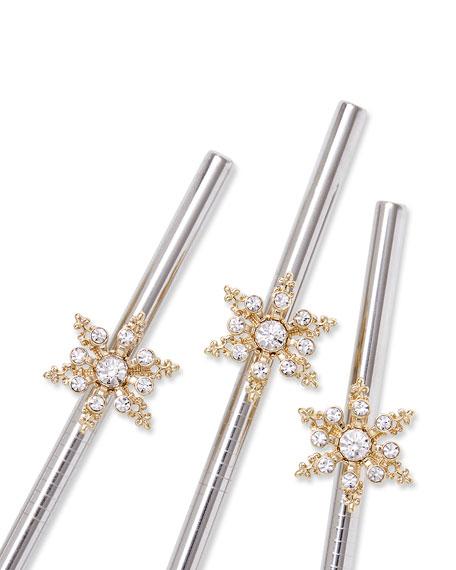 Snowflake Metal Cocktail Straws, Set of 4
