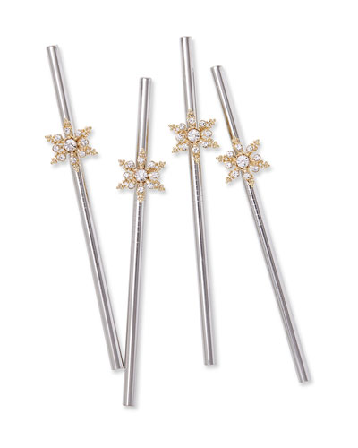 Snowflake Metal Cocktail Straws  Set of 4