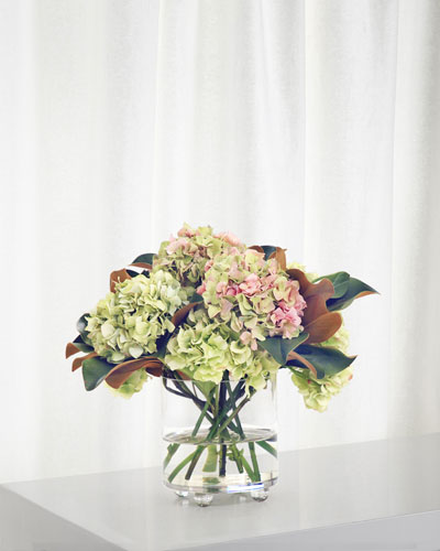 Hydrangea in Cylinder Footed Glass Vase