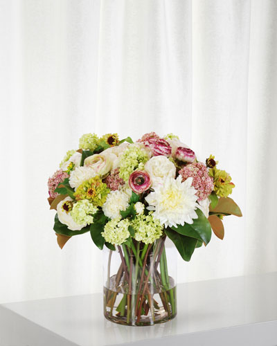 Dahlia Ranunculus & Rose in Cylinder Vase