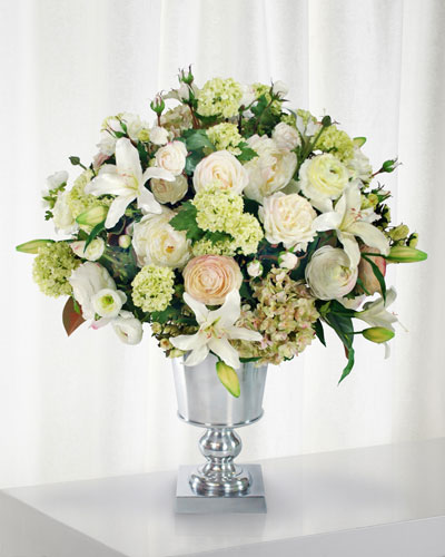 Lily Rose & Peony in Urn Vase