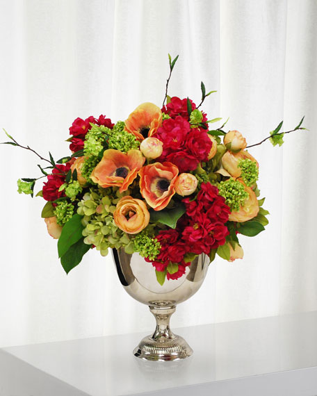 Anemone & Ranunculus in Silver Vase