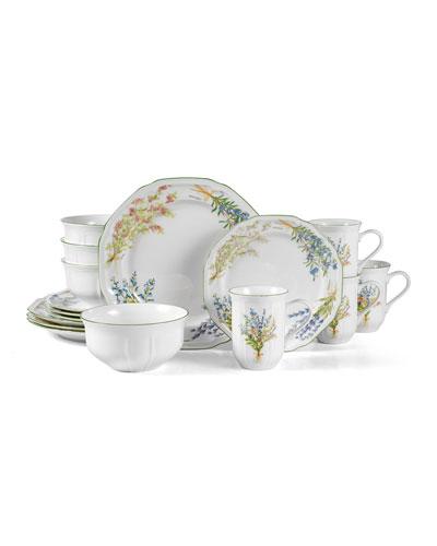 16-Piece Botanical Garden Dinnerware Set