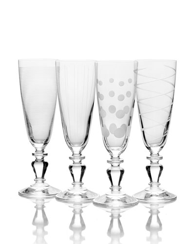 Cheers Vintage Champagne Flutes  Set of 4