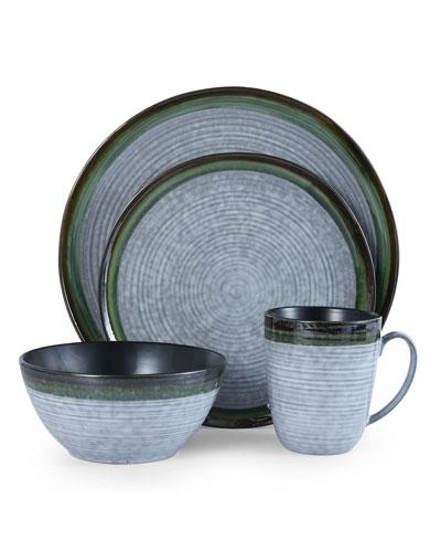 16-Piece Willa Green Dinnerware Set