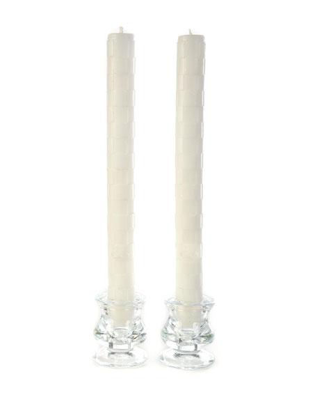 White Raised Check Dinner Candles, Set of 2