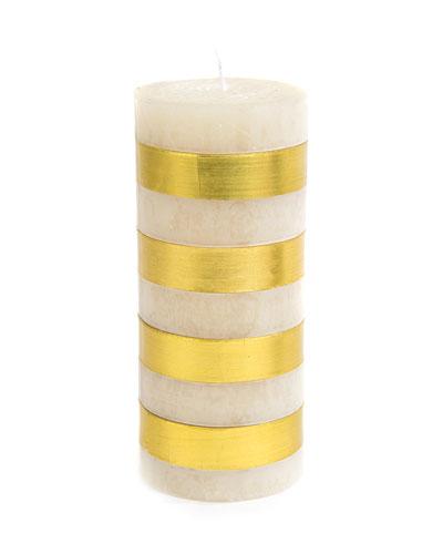 Gold Bands Pillar Candle  6