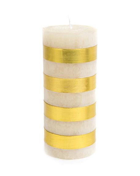 MacKenzie-Childs Gold Bands Pillar Candle, 6