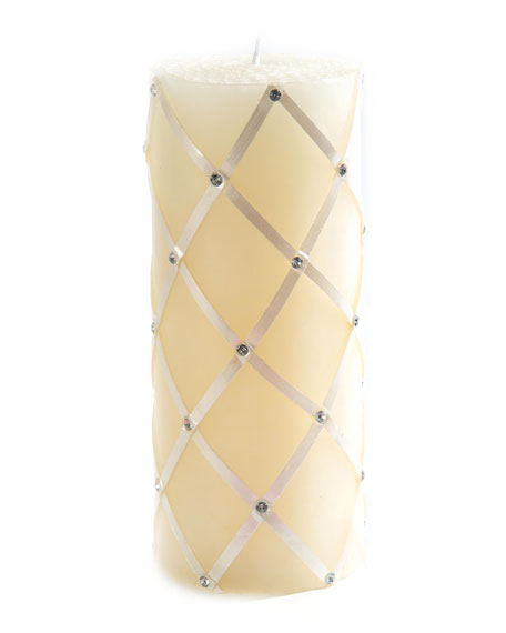 Pearl Sparkly Fishnet Pillar Candle