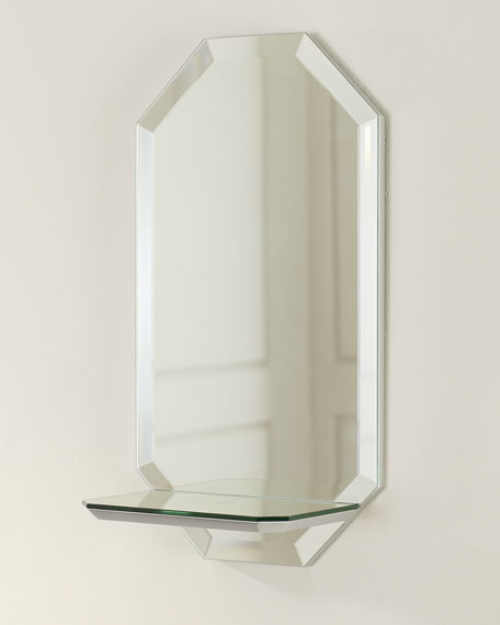Octagon Wall Shelf Mirror - Vertical