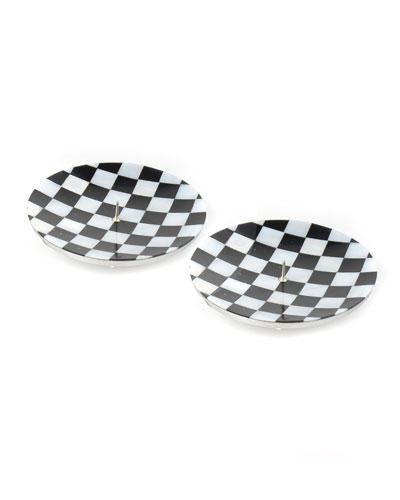 Check Round Candle Holders  Set of 2