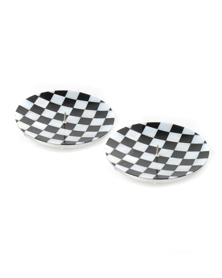 MacKenzie-Childs Check Round Candle Holders, Set of 2