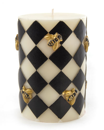 Black & White Bee Pillar Candle