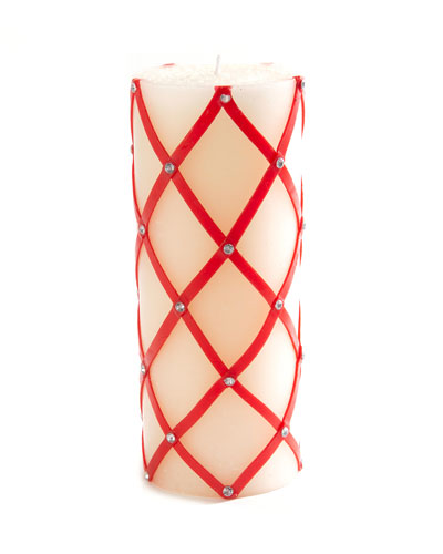 Sparkly Fishnet Pillar Candle